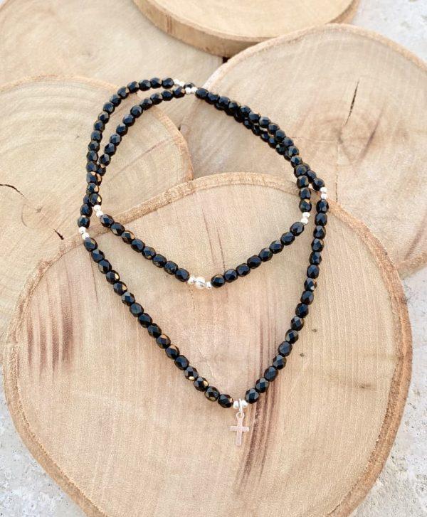 Collier perles facettées verre de Bohème et croix argent