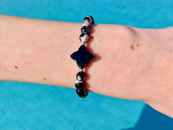 bracelet femme agate trèfle noir