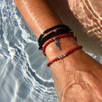 Bracelet 2 tours femme rouge mat