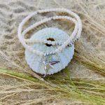Bracelet Alice blanc verre bohème colibri argent