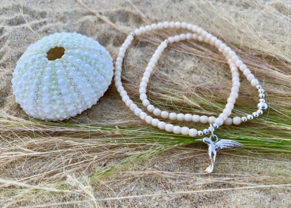 Bracelet Alice verre de Bohème Blanc colibri argent