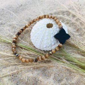 bracelet-verre de bohème trèfle opale