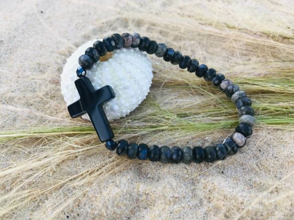 bracelet rondelles opale croix en agate
