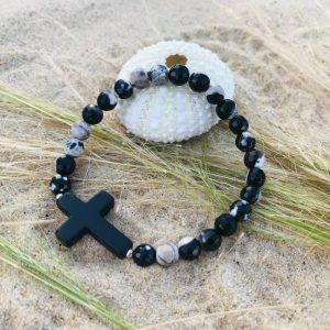 bracelet femme nacre opale croix