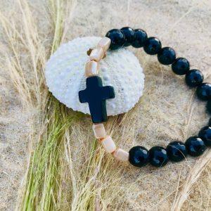 bracelet perles semi-précieuses agate croix