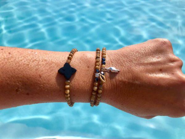 bracelet perle de bohème trèfle en agate