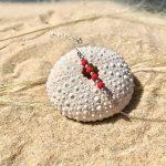 bracelet femme argent verre de bohème rouge