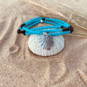 Collier bracelet verre de bohème pendentif feuille argent
