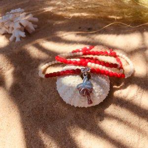 collier bracelet rouge palmier argent cristal bohème