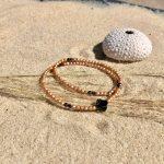 bracelet femme 2 tours verre de bohème doré trèfle