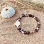 bracelet femme perles facettées en agate bohème