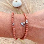Bracelet Maya verre de bohème pendentif argent