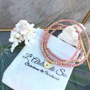 collier bracelet 3 tour plaqué or verre de bohème rose