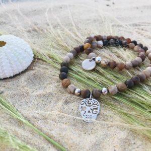 Bracelet wood opaline et argent