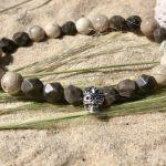 bracelet homme perles semi précieuses tête de mort argent