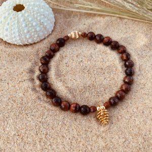 bracelet femme oeil de taureau pomme de pin doré à l'or fin