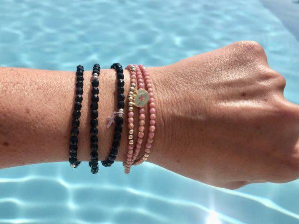 collier bracelet 3 tours verre de bohème rose